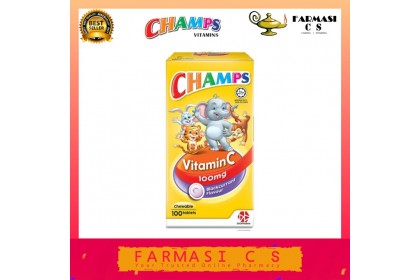 Champs Vitamin C Chewable 100mg Strawberry Flavour 100s [Vitamin for Kids] EXP:07/2023